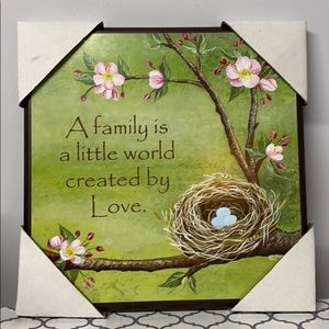 Family Love Wall Picture Birds Nest Flowers